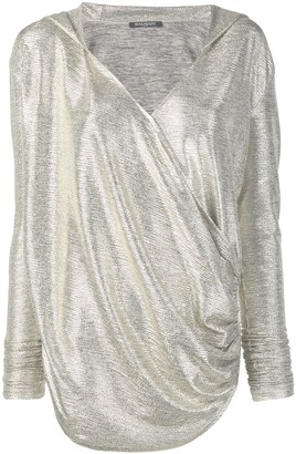 Balmain laminated-effect hooded knit top
