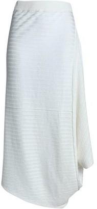 J.W.Anderson Draped Ribbed Two-Tone Linen Midi Skirt