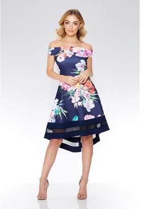 Quiz Navy Floral Print Bardot Dip Hem Dress