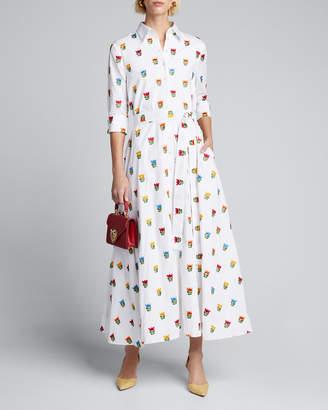 Carolina Herrera Long Floral-Print Shirtdress w/ Waist Tie