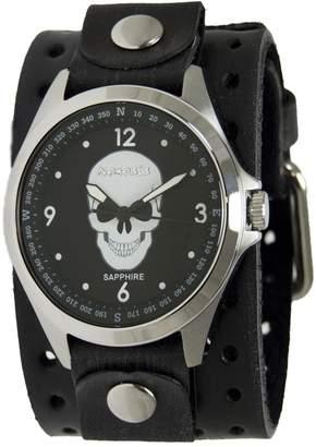 Nemesis Men's 'Sapphire' Quartz Stainless Steel and Leather Casual Watch, Color:Black (Model: DXB250S)