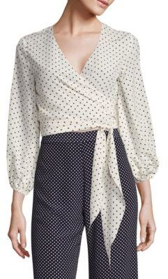 Alexis Nirav Polka Dot Wrap Cropped Top $297 thestylecure.com