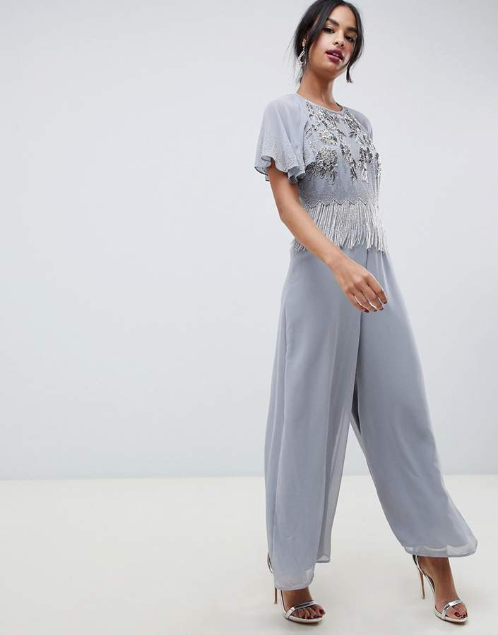 ASOS DESIGN jumpsuit with flutter sleeve and embellishment