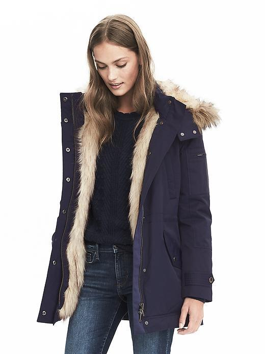 Banana Republic  Faux Fur Solid Parka