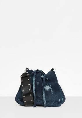Missguided Blue Denim Drawstring Bucket Bag, Blue