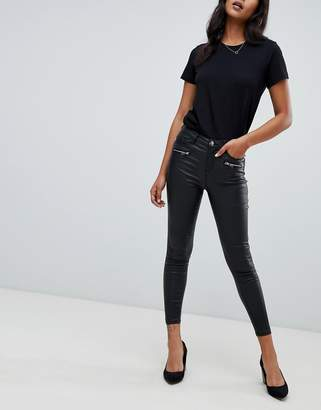 Lipsy coated jeans with zip detail in black