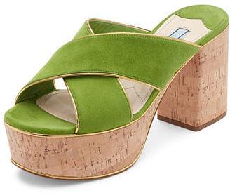 Prada Suede Platform Cork-Heel Mule Sandal $750 thestylecure.com