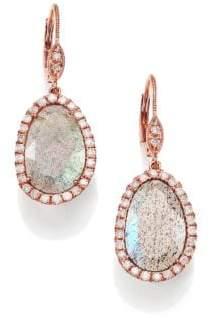 Meira T Labradorite, Diamond& 14K Rose Gold Leverback Drop Earrings