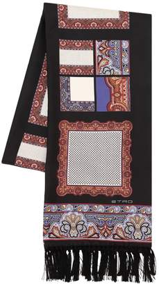 Etro Ethnic Printed Fringed Silk Scarf