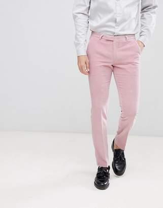Noose & Monkey super skinny suit trousers in pink velvet