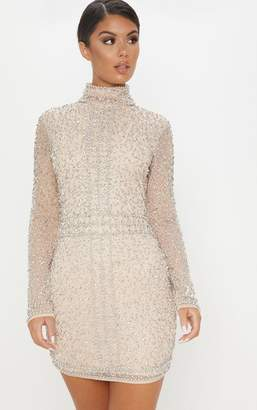 9c850f06 PrettyLittleThing Nude Sequin Embellished High Neck Bodycon Dress