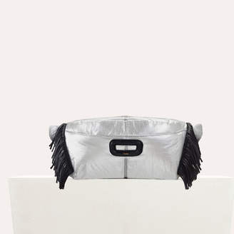 Maje Silver fanny pack with fringe