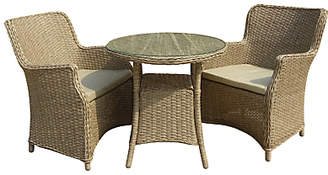 LG Electronics Outdoor Saigon 2 Seater Garden Bistro Table and Chairs Set, Natural Grey