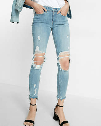 Express Mid Rise Distressed Frayed Stretch Ankle Jean Leggings