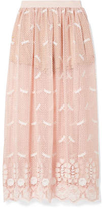 Miguelina Paris Embroidered Crocheted Cotton Maxi Skirt - Blush