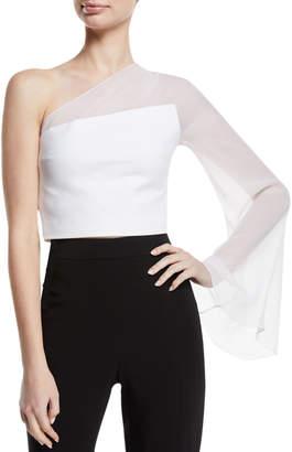 Cushnie One-Shoulder Sheer-Sleeve Cropped Top