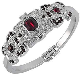 Swarovski Cristalina Rhodium Plated Chunky Art Deco Gatsby Siam Cuff with Crystals