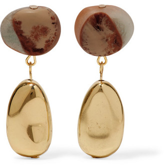 Dinosaur Designs - Short Mineral Gold-filled Resin Earrings - Brown $190 thestylecure.com
