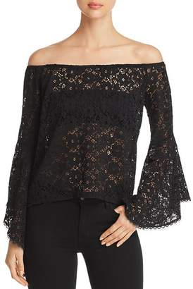 Red Haute Sheer Lace Off-the-Shoulder Top