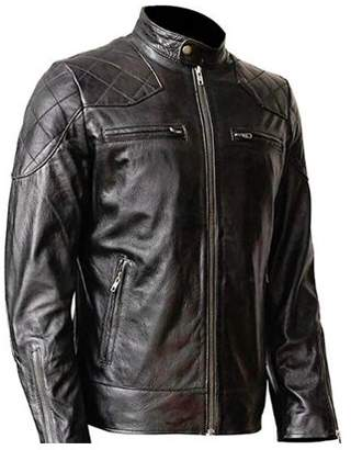 David Beckham De-Marca WONDERPIEL Men's Genuine Lambskin Leather Biker Jacket Inspired by Black