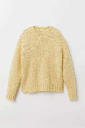 H&M Knit Mohair-blend Sweater - Yellow