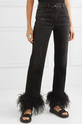 Prada Cropped Feather-trimmed Straight-leg Jeans - Black