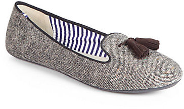 Charles Philip Shanghai Dotted Wool & Suede Smoking Slippers
