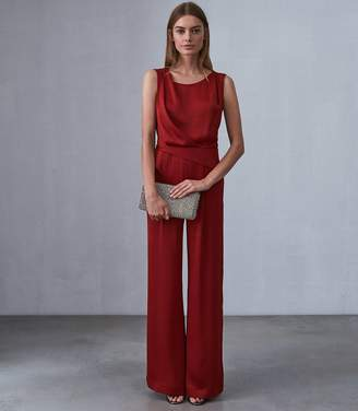 dceab308148 Reiss BENITA LOW BACK DETAIL JUMPSUIT Berry