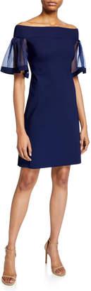 Chiara Boni Cleta Off-the-Shoulder Organza Flutter-Sleeve Sheath Dress