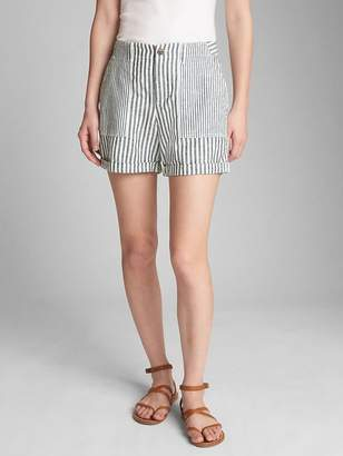 "Gap 5"" Girlfriend Utility Stripe Shorts in Linen-Cotton"