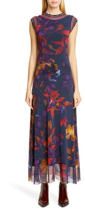 Fuzzi Embroidered Trim Floral Maxi Dress