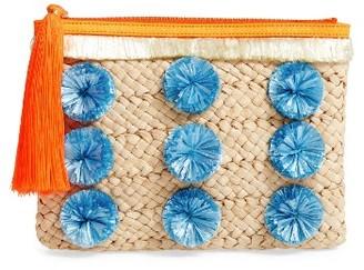 Milly Pompom Straw Clutch - Brown $195 thestylecure.com