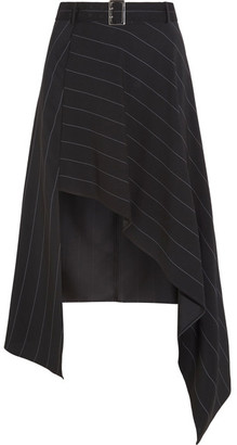 Mugler - Belted Asymmetric Pinstriped Crepe Skirt - Black $730 thestylecure.com