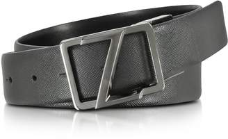 Ermenegildo Zegna Black Leather Reversible & Adjustable Belt W/gunmetal Signature Buckle
