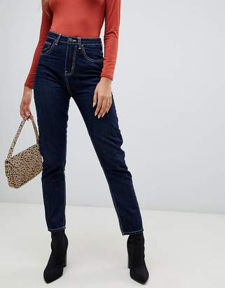 PrettyLittleThing contrast stitch straight leg jeans in navy