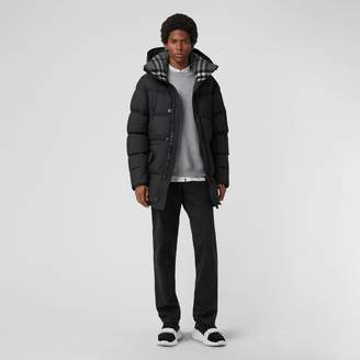 Burberry Check Detail Down-filled Hooded Puffer Coat , Size: 48, Black