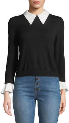 Alice + Olivia Aster Collar Ruffle-Cuff Knit Sweater