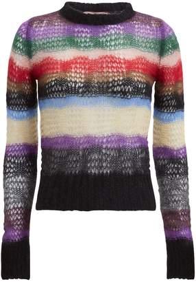 No.21 No. 21 Multi-Striped Open Weave Sweater