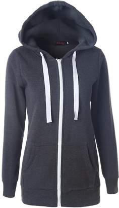 Suvotimo Women Casual Pullover Fleece Full Zip Up Hoodie Sweater Sweatshirts Tops M