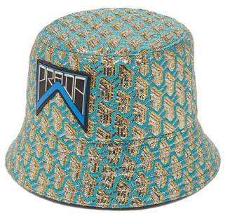 Prada Geometric Jacquard Logo Patch Bucket Hat - Womens - Blue 191dfe96511b