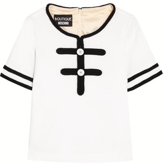 Boutique Moschino - Bouclé-trimmed Wool Top - White $560 thestylecure.com