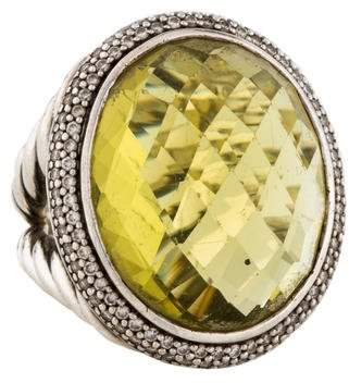 David Yurman Lemon Citrine & Diamond Signature Oval Ring