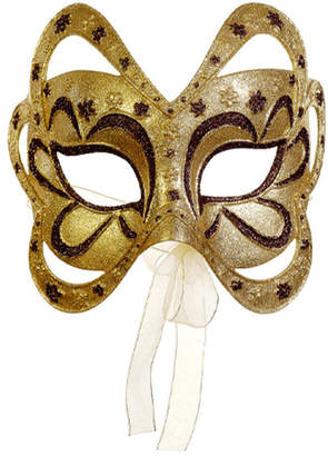 Asstd National Brand 6.75 Gold and Brown Glittered Floral Masquerade Mask Christmas Ornament