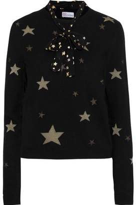 RED Valentino Printed Chiffon-Trimmed Metallic Intarsia-Knit Sweater