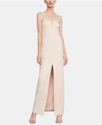 BCBGMAXAZRIA Crepe V-Neck Gown