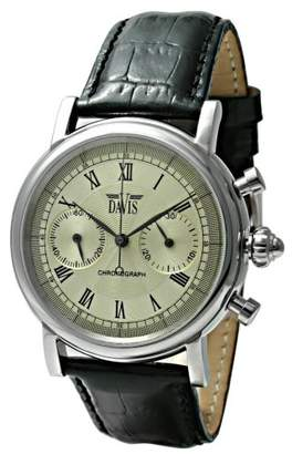 Rubie's Costume Co Davis - Watch Retro Vintage - 20 Mechanical Movement - Chronograph - Black Leather Strap