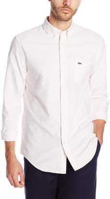 Lacoste Men's Long Sleeve Oxford Bengal Stripe Regular Fit Button Down Woven Shirt