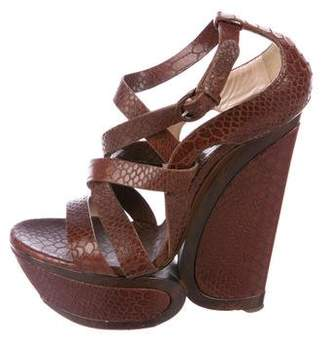 Casadei Embossed Platform Wedges