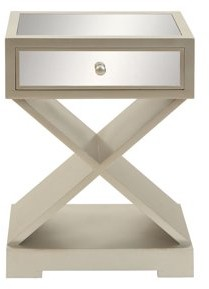 DecMode Decmode Contemporary 1-Drawer Art Deco Wood and Mirror Side Table, White
