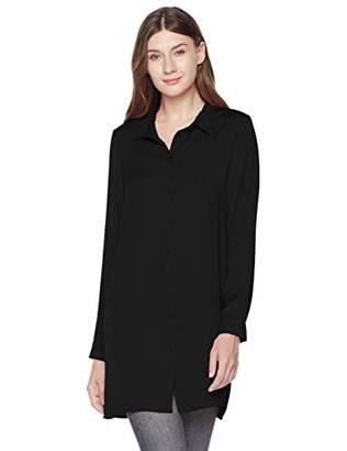 A.Dasher Women's Hammered Chiffon Long Sleeve Button Down Tunic Shirt Top